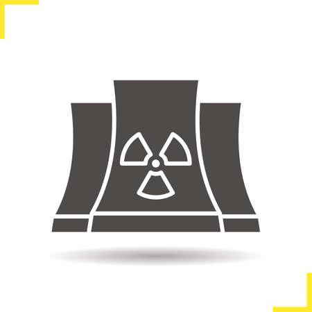Icône de glyphe de centrale nucléaire. Déposer le symbole de la silhouette de l'ombre. Radiation. Espace négatif. Illustration vectorielle isolé Vecteurs