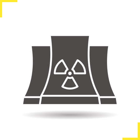 chernobyl: Nuclear power plant glyph icon. Drop shadow silhouette symbol. Radiation. Negative space. Vector isolated illustration