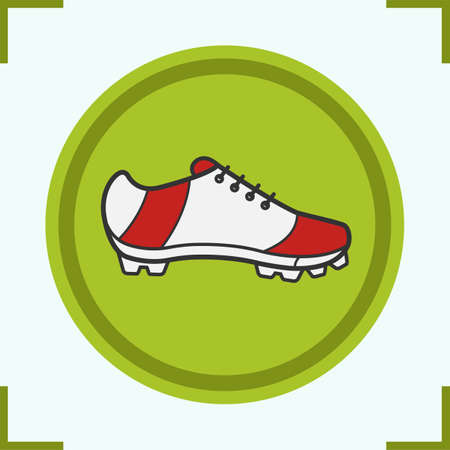 Soccer boot color icon. Baseball player shoe. Isolated vector illustration