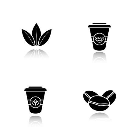 Tea and coffee drop shadow black icons set. Roasted coffee beans, tea leaves and disposable paper cups. Isolated vector illustrations