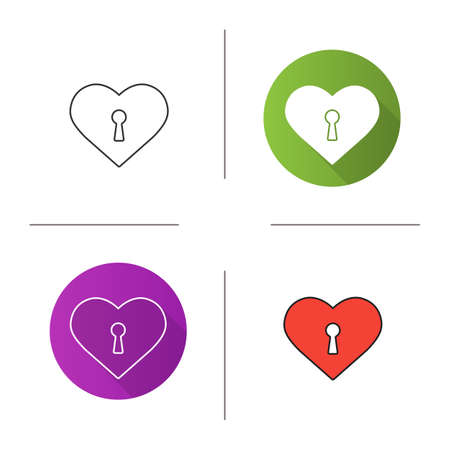 key hole: Heart with keyhole icon. Flat design, linear and color styles. Valentines Day symbol. Isolated vector illustrations Illustration