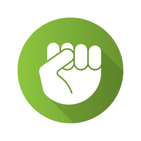Squeezed fist flat design long shadow icon. Clenched hand gesture. Vector silhouette symbol Illustration