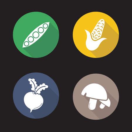 野菜フラット設計長い影のアイコンを設定します。エンドウ豆の鞘、トウモロコシ、甜菜、キノコを開きます。ベクター シルエット イラスト