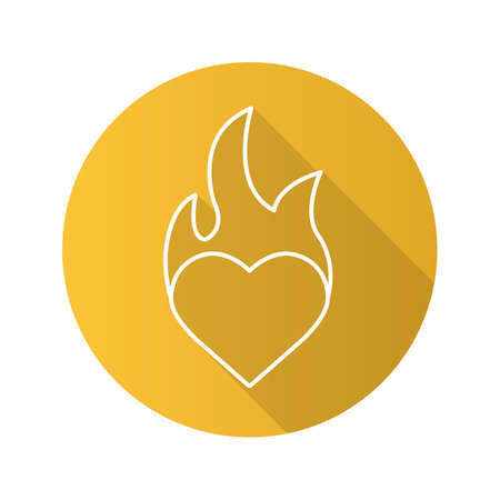 Burning heart flat linear long shadow icon. Passion. Heart on fire. Vector line symbol