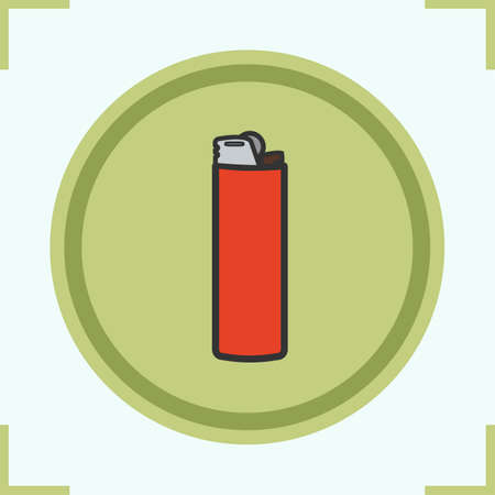 gas lighter: Lighter color icon. Disposable gas lighter. Isolated vector illustration