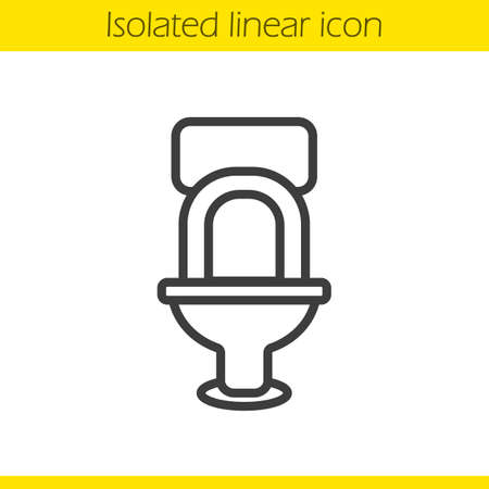 Toilet linear icon. WC thin line illustration. Lavatory pan contour symbol. Vector isolated outline drawing Illustration
