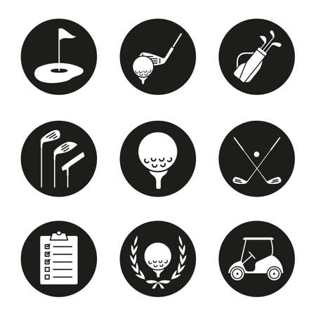 Golf icons set. Ball on tee, golf cart, clubs, golfers checklist, championship symbol, bag, course, flagstick in hole. Vector white silhouettes illustrations in black circles Illustration