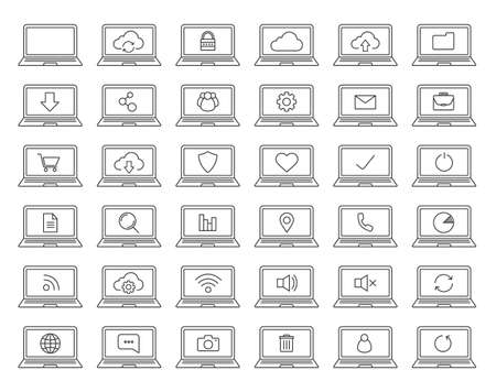 elementos de protección personal: Laptops linear icons set. Laptops with wifi connection, cloud computing, users, protection, document, folder, settings pictograms. Thin line contour symbols. Isolated vector illustrations