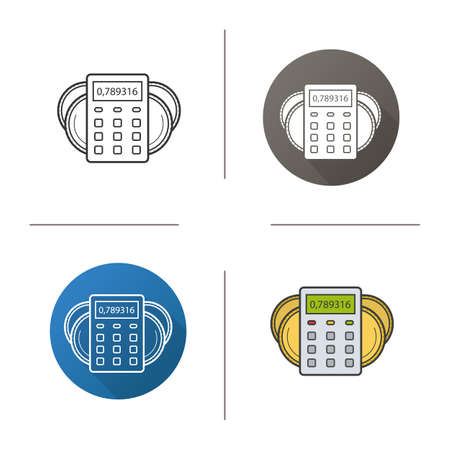 Income calculations icon. Flat design, linear and color styles. Calculator with coins. Financial planning. Isolated vector illustrations Illustration