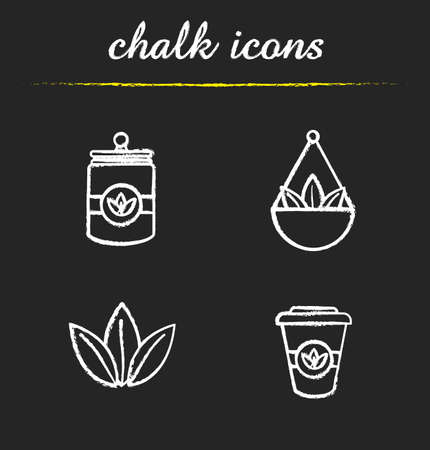 Tea chalk icons set. Loose tea leaves in bulk, disposable paper cup, container. Isolated vector chalkboard illustrations