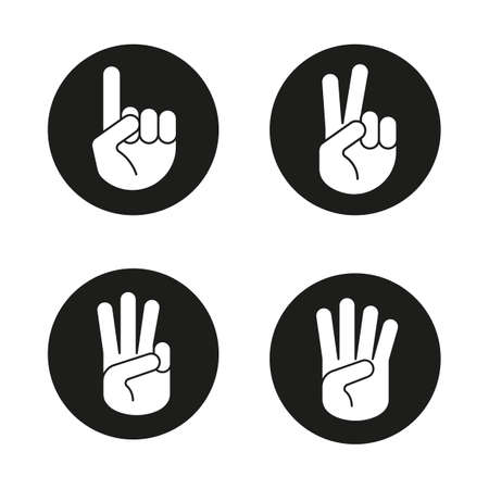 Hand gestures icons set. One, two, three and four fingers up. Vector white silhouettes illustrations in black circles