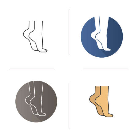 Woman standing on tiptoes icon. Flat design, linear and color styles. Womans feet. Isolated vector illustrations