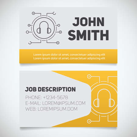 Business card print template with headphones logo. Manager. Music producer. DJ. Digital music. Stationery design concept. Vector illustration