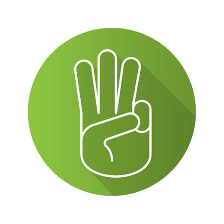 oath: Three fingers up flat linear long shadow icon. Scout promise sign. Vector line symbol