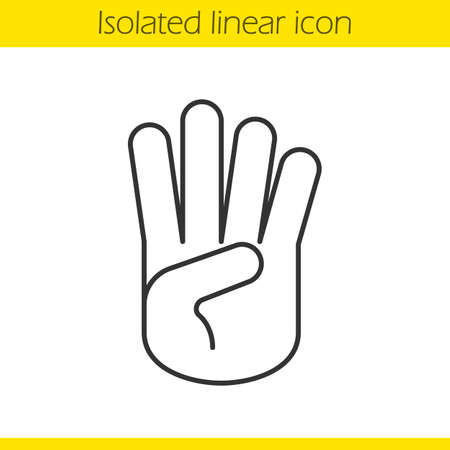 Palm Linear Icon Hand Thin Line Illustration Stop Greeting