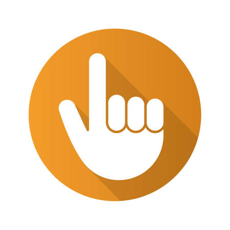 Attention hand gesture. Flat design long shadow icon. Point up. Vector silhouette symbol