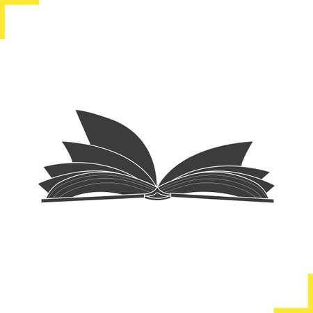 Open book illustration. Silhouette symbol. Open textbook. Negative space. Vector isolated icon Illustration