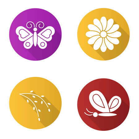 aster: Spring flat design long shadow icons set. Butterflies, camomile flower, willow blossom. Nature. Vector silhouette illustration Illustration