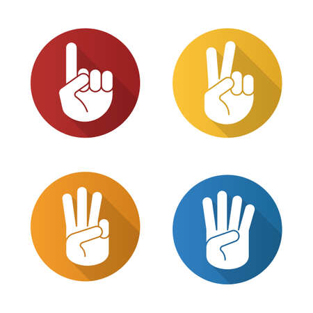 Hand gestures flat design long shadow icons set. One, two, three and four fingers up. Vector silhouette illustration Illustration