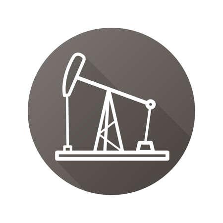 Oil derrick flat linear long shadow icon. Oil pump jack. Vector line symbol Ilustrace