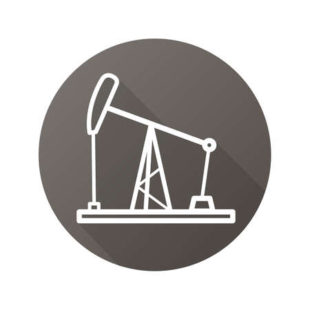 Oil derrick flat linear long shadow icon. Oil pump jack. Vector line symbol Illustration