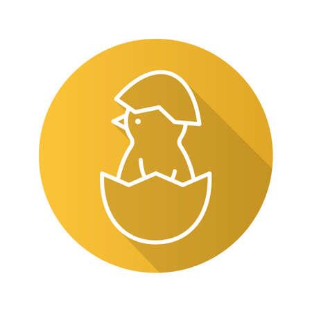 fledgeling: Newborn chicken flat linear long shadow icon. Nestling in egg shell. Vector line symbol
