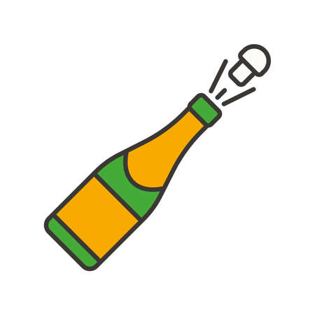 Champagne bottle opening color icon. Isolated vector illustration