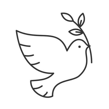 Gołąb z ikoną liniowej brunch z oliwek. Cienka linia ilustracja. Symbol konturu dnia pokoju. Wektor na białym tle szkicu