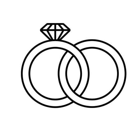 結婚指輪線形アイコン。細い線の図。婚約指輪ダイヤモンド表面形状記号を連動します。ベクトル分離外形図  イラスト・ベクター素材