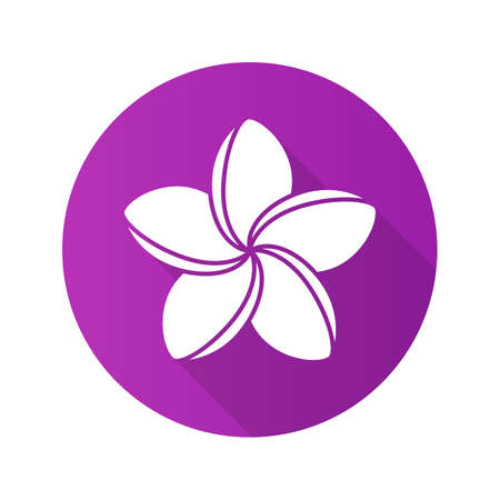Spa salon plumeria flower. Flat design long shadow icon. Aromatherapy. Vector silhouette symbol