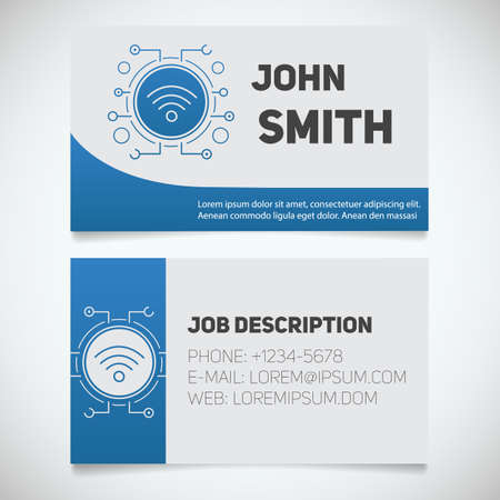 lan: Business card print template with wifi spot logo. Lan admin. Stationery design concept. Vector illustration