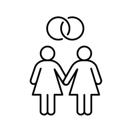 Lesbian marriage linear icon. Thin line illustration. Two women with interlocked wedding rings above. Contour symbol. Vector isolated outline drawing