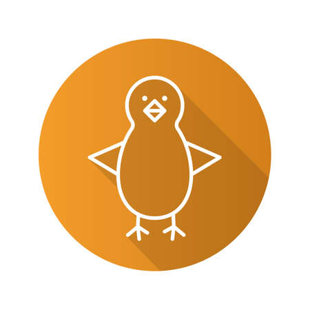 fledgeling: Chicken flat linear long shadow icon. Nestling. Vector line symbol