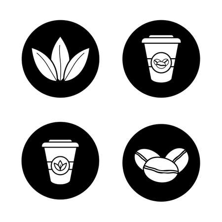 Tea and coffee icons set. Roasted coffee beans, tea leaves and disposable paper cups. Vector white silhouettes illustrations in black circles Illustration