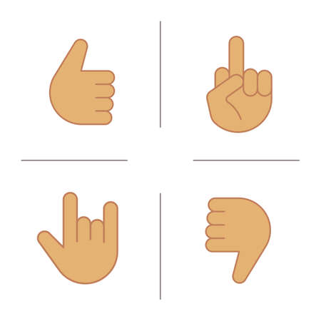 Hand gestures color icons set. Thumbs up, dislike, heavy metal, middle finger up. Isolated vector illustrations