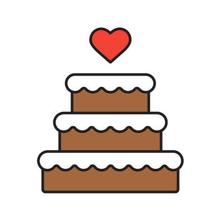 Wedding cake color icon. Chocolate cake with heart shape above. Isolated vector illustrations
