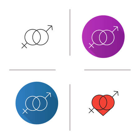 Valentine\'s Day Icon. Flat Design, Linear And Color Styles ...