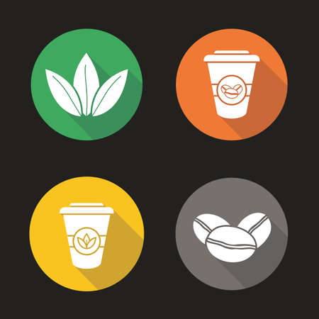 Tea and coffee flat design long shadow icons set. Roasted coffee beans, tea leaves and disposable paper cups. Vector silhouette illustration