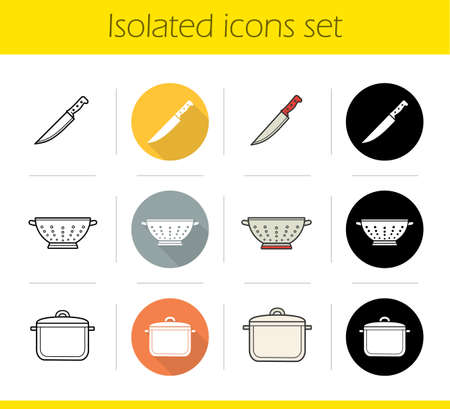 Kitchenware icons set. Flat design, linear, black and color styles. Knife, colander, saucepan. Isolated vector illustrations