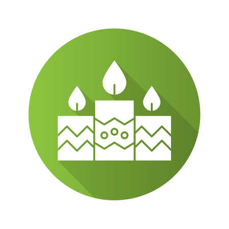 Church candles flat design long shadow icon. Vector silhouette symbol Illustration