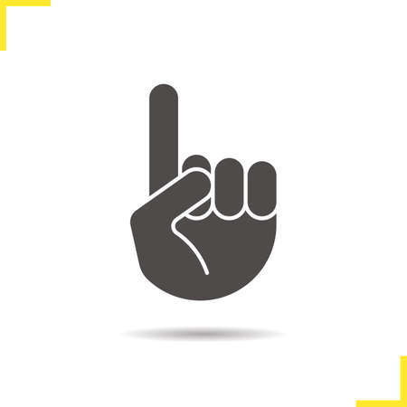 Attention hand gesture glyph icon. Drop shadow silhouette symbol. Point up. Negative space. Vector isolated illustration Imagens - 78884809