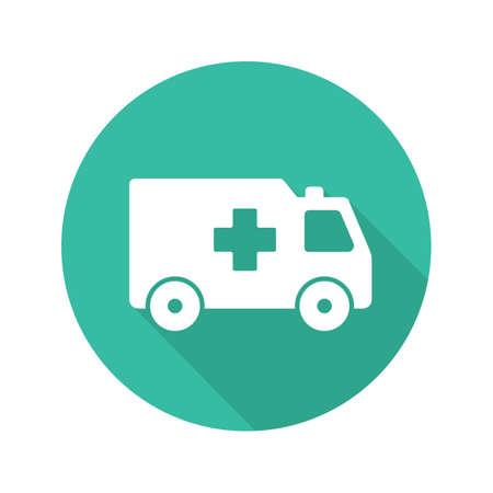 Ambulance flat design long shadow icon. Emergency car. Vector silhouette symbol Vector Illustration