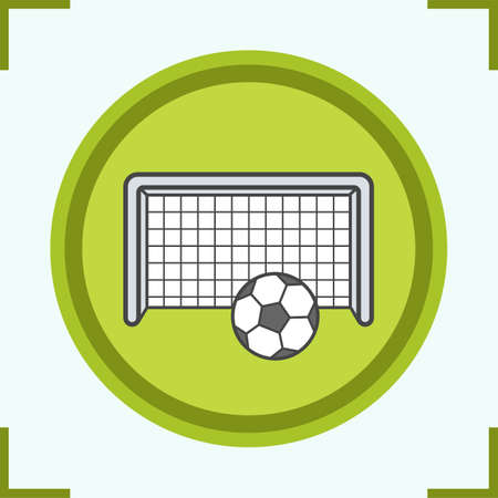 Soccer goal color icon. Football gate and ball. Isolated vector illustration