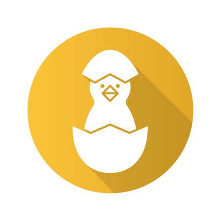 fledgeling: Newborn chicken flat design long shadow icon. Nestling in egg shell. Vector silhouette symbol