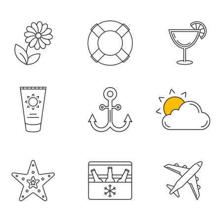 seastar: Summer linear icons set. Flower, sun and cloud, lifebuoy, sunbathing cream, airplane, anchor, seastar, summer sale, portable fridge with beer. Thin line contour symbols. Isolated vector illustrations Illustration