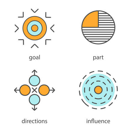 Símbolos abstractos de los iconos del color fijados. Meta, parte, direcciones, influencia. Ilustraciones vectoriales aisladas