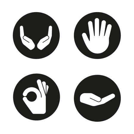 begging: Hand gestures icons set. Begging and cupped hands, palm, ok gesture. Vector white silhouettes illustrations in black circles