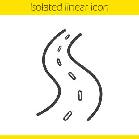 Road linear icon. Thin line illustration. Highway contour symbol. Vector isolated outline drawing