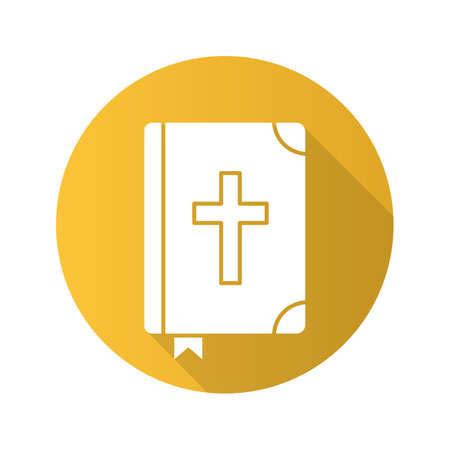 marca libros: Santa Biblia plana diseño larga sombra icono. Vector silueta símbolo