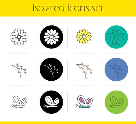 aster: Spring icons set. Linear, black and color styles. Butterfly, aster flower, willow blossom. Nature. Isolated vector illustrations Illustration
